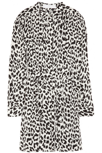 best supplier unparalleled top-rated real Leopard-print silk shirt dress