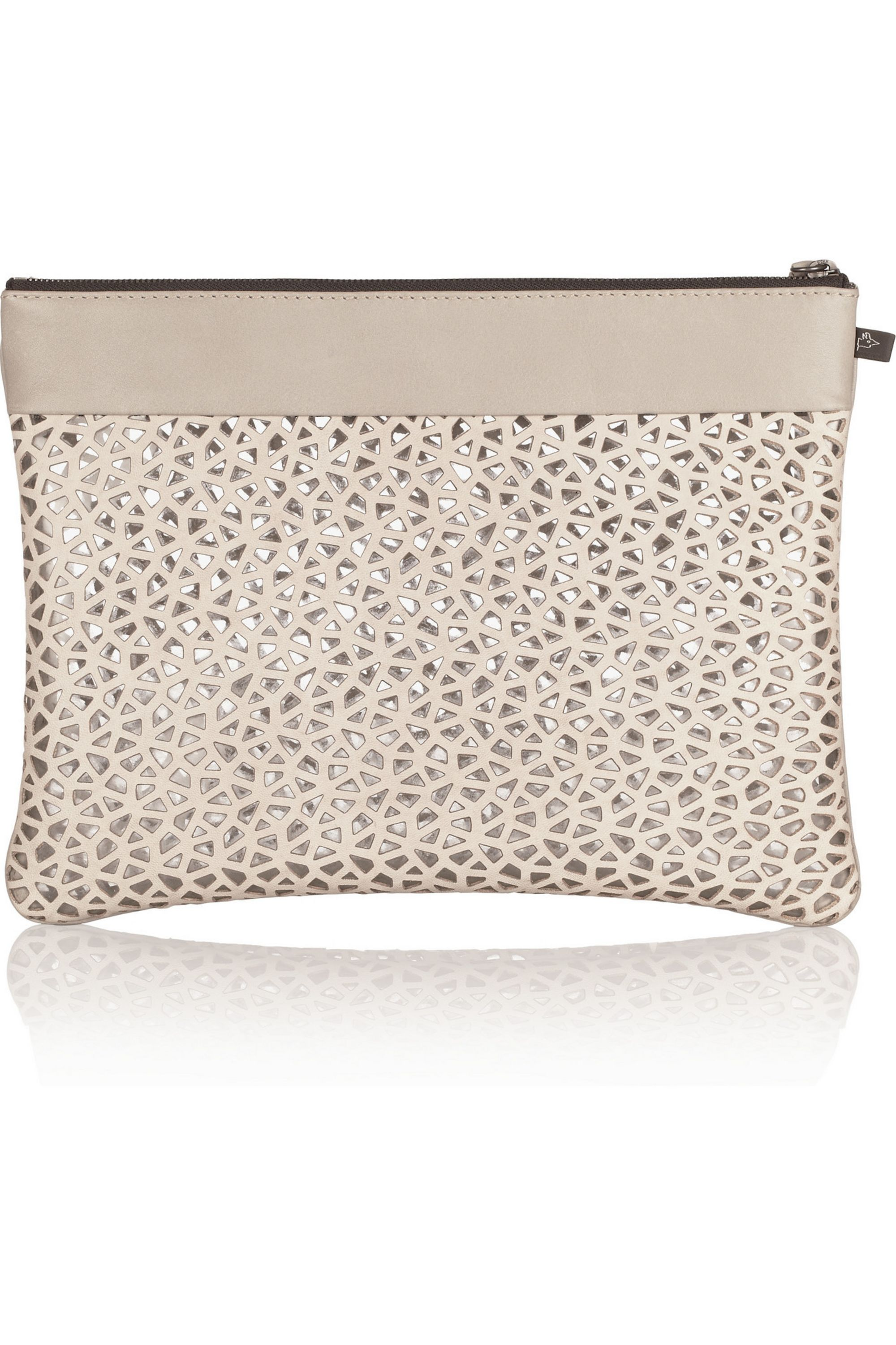 NewbarK Laser-cut leather clutch