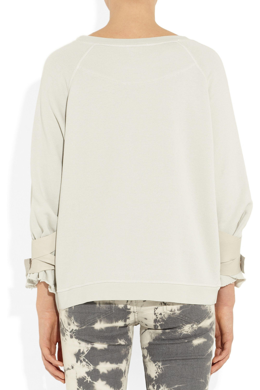 Faith Connexion Leather-trimmed cotton-terry sweatshirt
