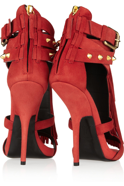 Giuseppe Zanotti Fringed studded suede sandals