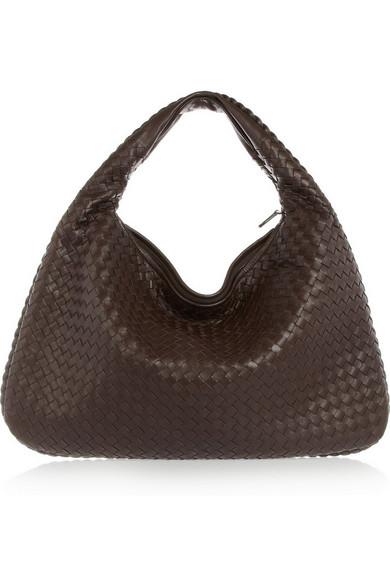 bottega veneta female bottega veneta veneta large intrecciato leather shoulder bag dark brown