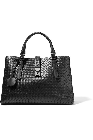 bottega veneta female bottega veneta roma large intrecciato leather tote black