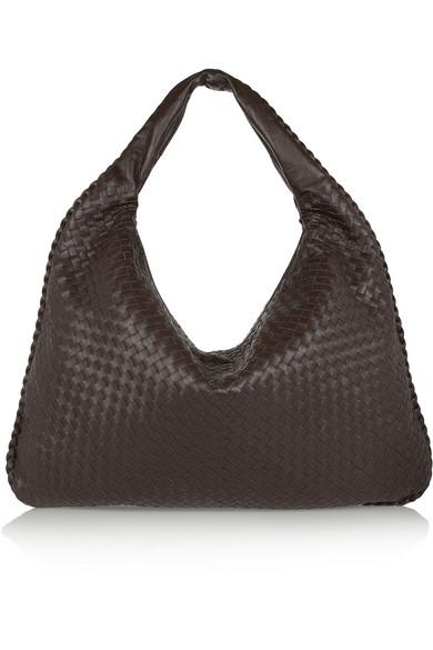 bottega veneta female bottega veneta maxi veneta intrecciato leather shoulder bag dark brown