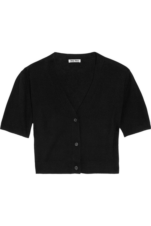 Miu Miu Cropped cashmere and silk-blend cardigan