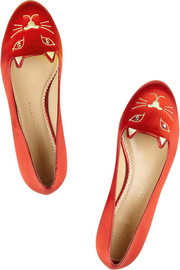 Charlotte Olympia Kitty embroidered satin slippers