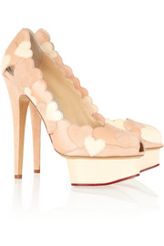 Charlotte Olympia Love Me heart-appliquéd leather and suede pumps