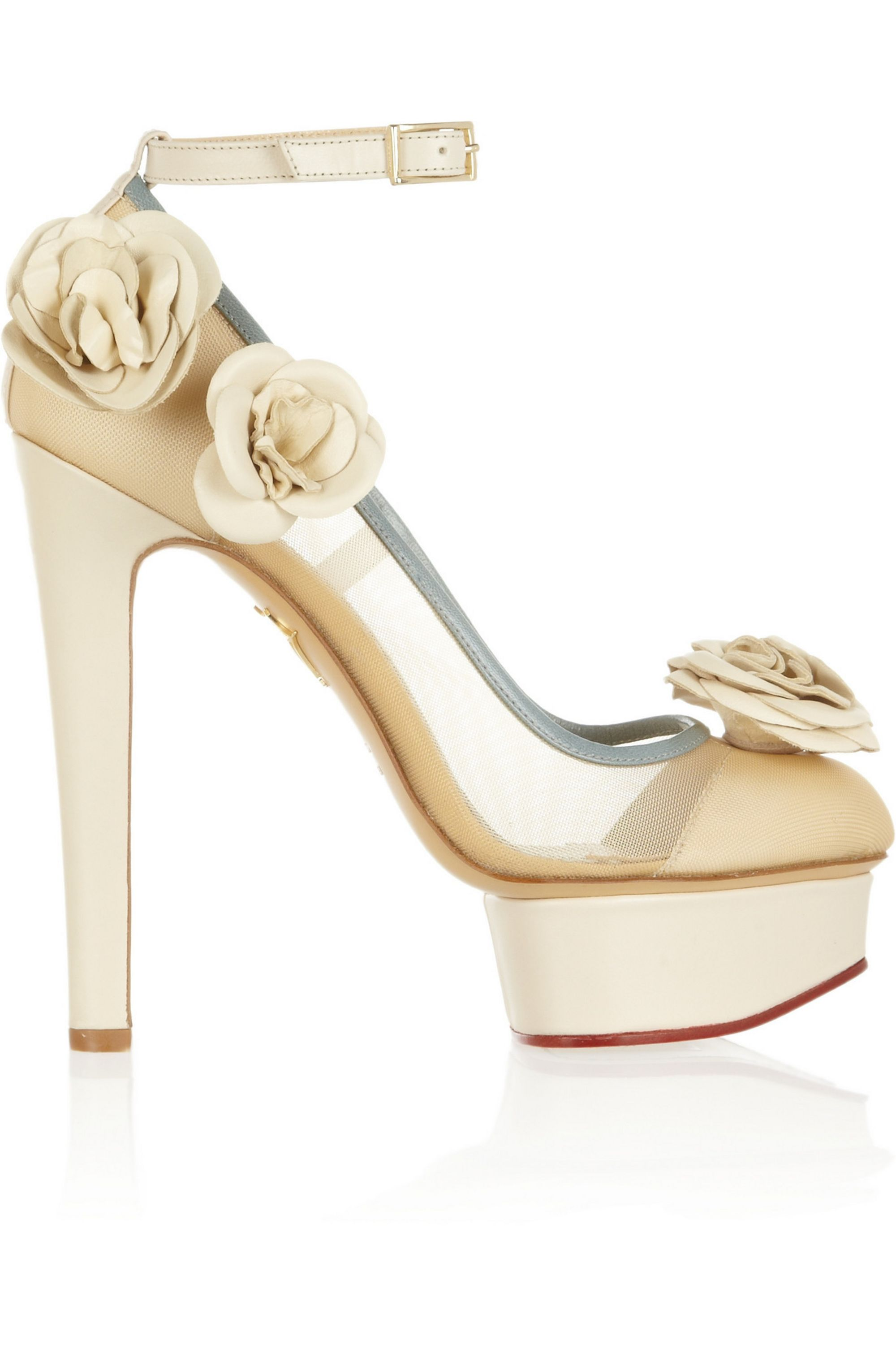 Charlotte Olympia Flora leather and mesh pumps