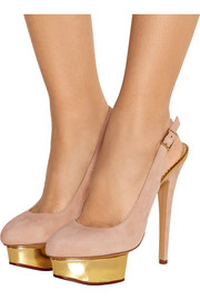 Charlotte Olympia The Dolly suede slingback pumps