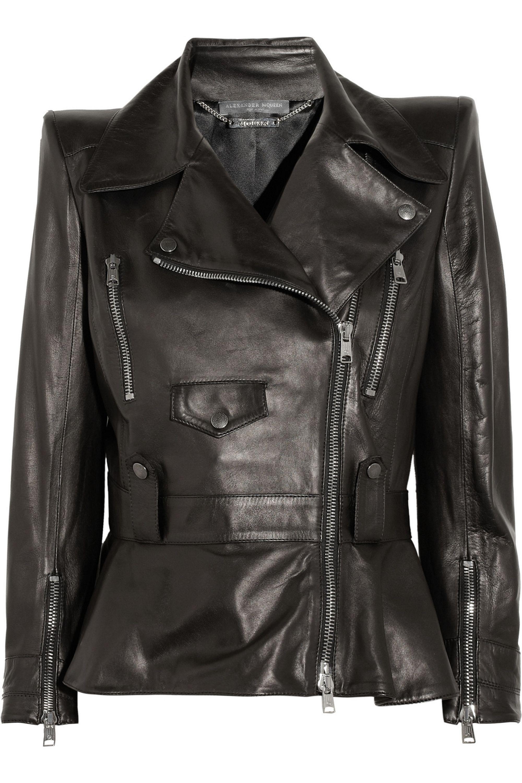 Schwarz Lederjacke mit spitzen Schultern | Alexander ...