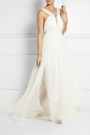 Ruched silk-blend tulle gown