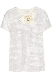 Lanvin Embellished sequined jersey top