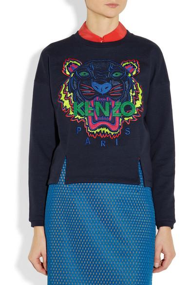 Kenzo Tiger Embroidered Cotton Sweatshirt Net A Porter Com