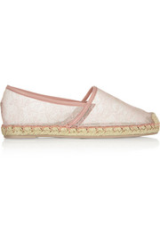 Chantilly lace and mesh espadrilles