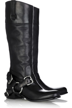 Knee high biker style boots.