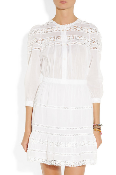 e2354bd3f9a Isabel Marant Étoile   Greta lace and cotton-voile dress   NET-A ...
