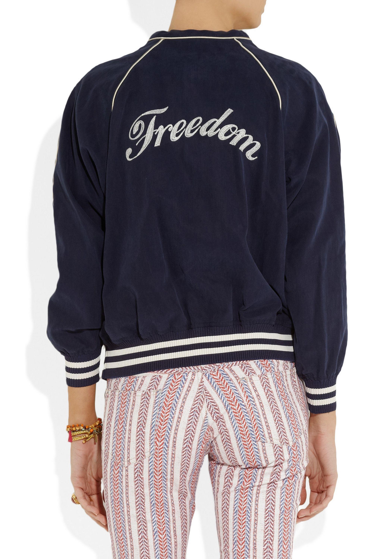 Isabel Marant Étoile Anderson embroidered cotton-blend varsity jacket