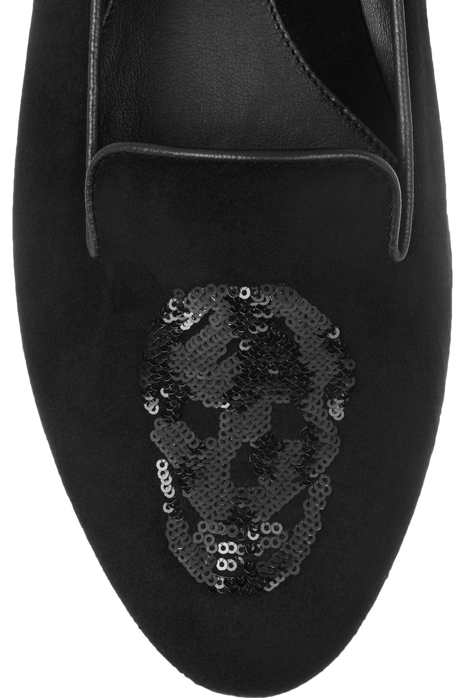 Alexander McQueen Sequin skull-embellished suede slippers