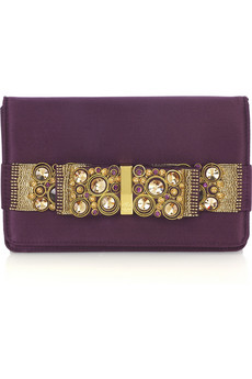 Roberto Cavalli Jeweled bow clutch | NET-A-PORTER.COM