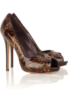 Alexander McQueen Stamped leather pumps  | NET-A-PORTER.COM