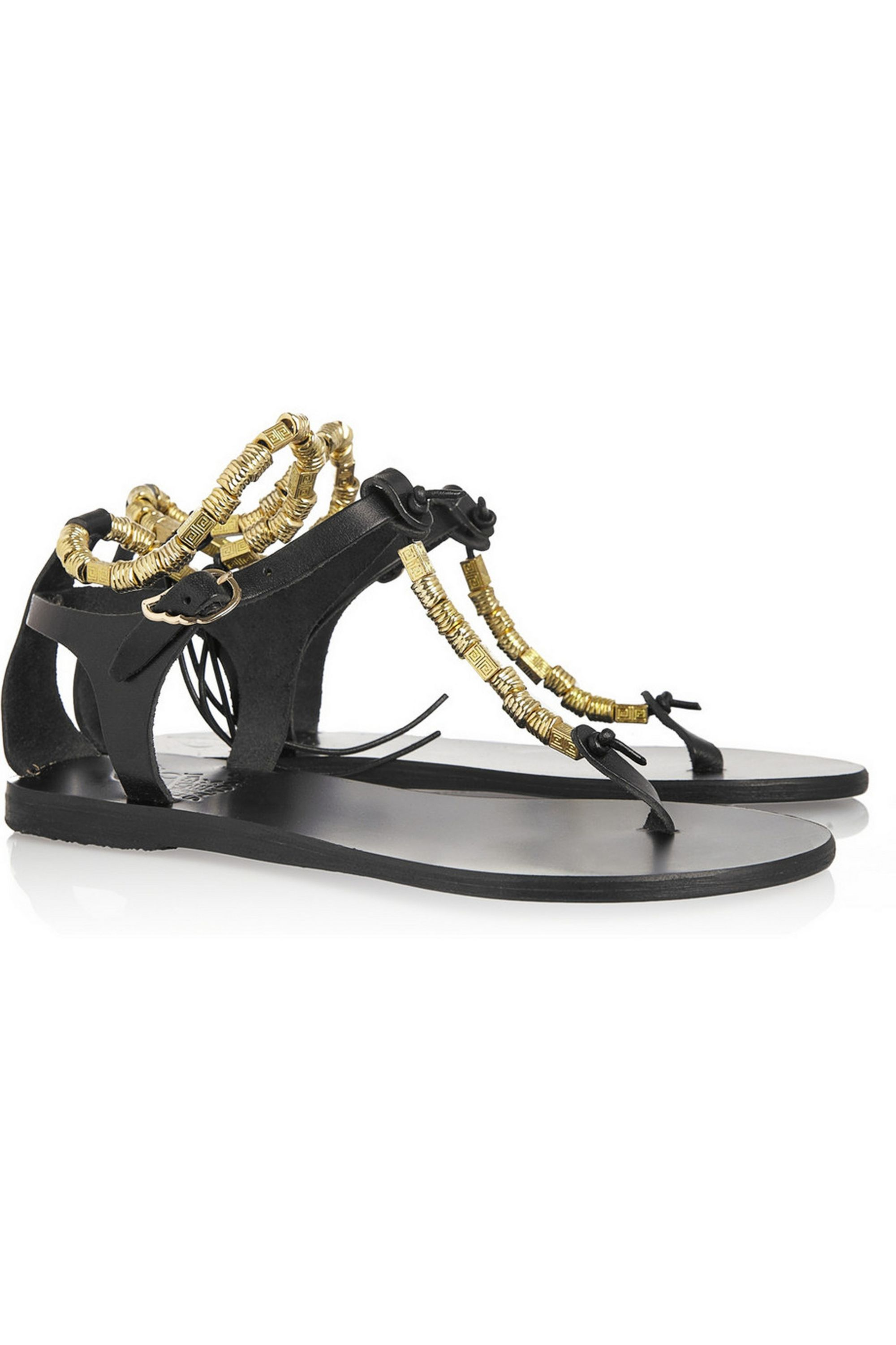 Ancient Greek Sandals Chrysso beaded flat leather sandals