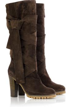 ChloéWraparound suede boots