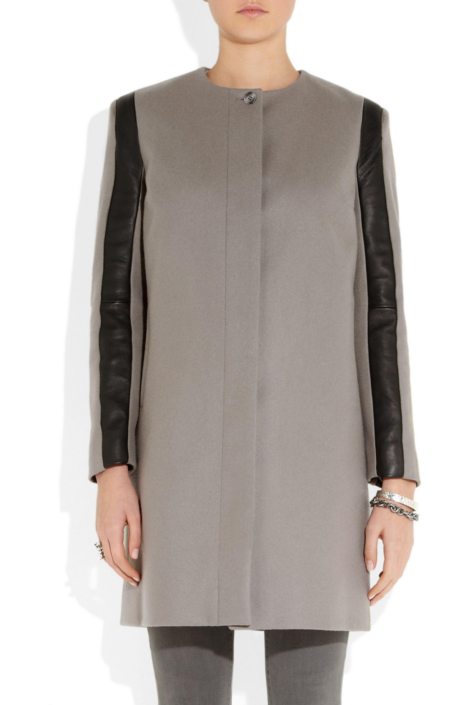 Sophie Hulme Leather-trimmed wool-felt coat