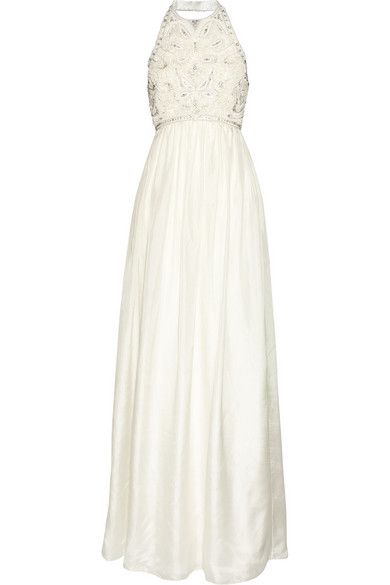 Matthew Williamson - Crystal And Faux Pearl-embellished Silk Gown - Off-white