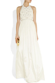 Matthew Williamson Crystal and faux pearl-embellished silk gown