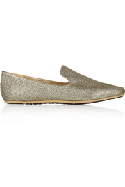 Jimmy Choo Wheel glittered canvas slippers