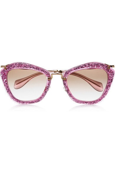 miu miu cat eye glittered acetate and metal sunglasses net a porter com. Black Bedroom Furniture Sets. Home Design Ideas