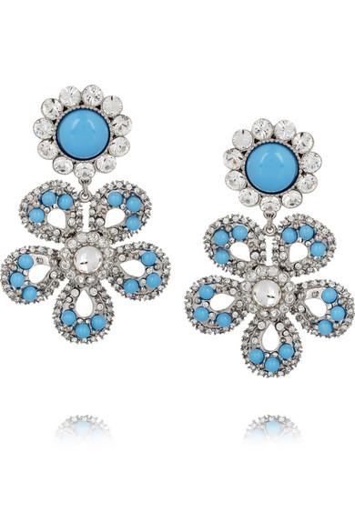 Miu Swarovski Crystal Flower Clip Earrings