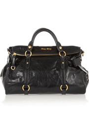 Miu Miu Textured glazed-leather tote