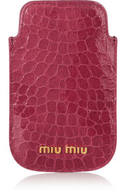Miu Miu Croc-effect glossed-leather iPhone 4 sleeve