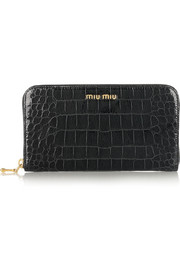 Miu Miu Croc-effect glossed-leather wallet