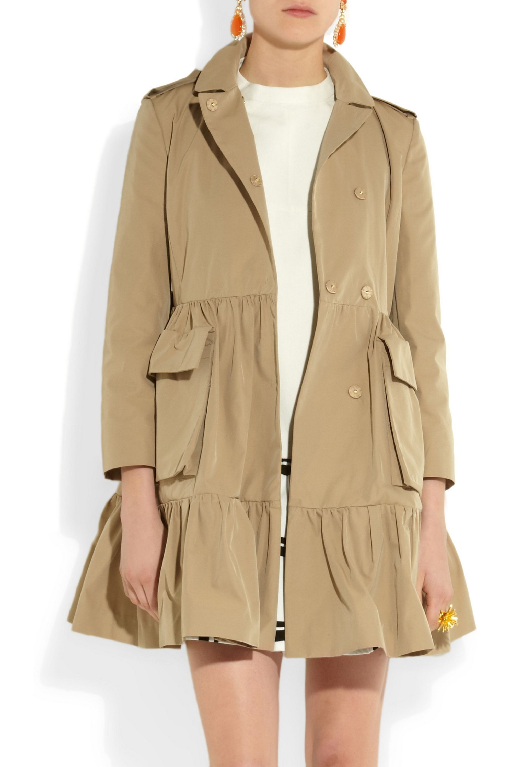 Miu Miu Flared twill trench coat