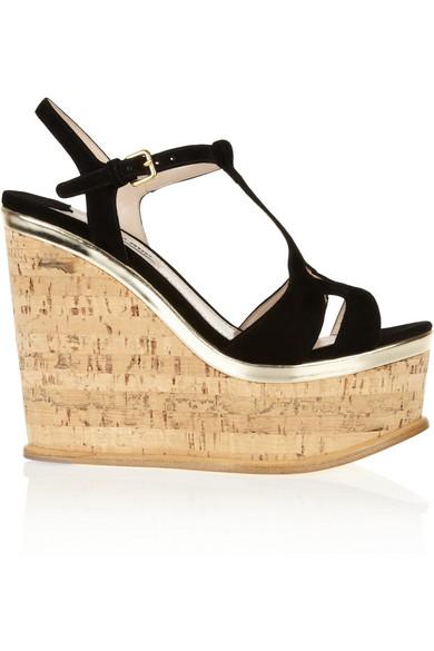 b9bc5498a64 Miu Miu. Suede wedge sandals