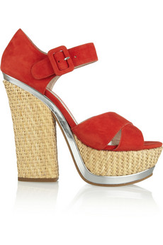 MIU MIU Suede and straw platform sandals