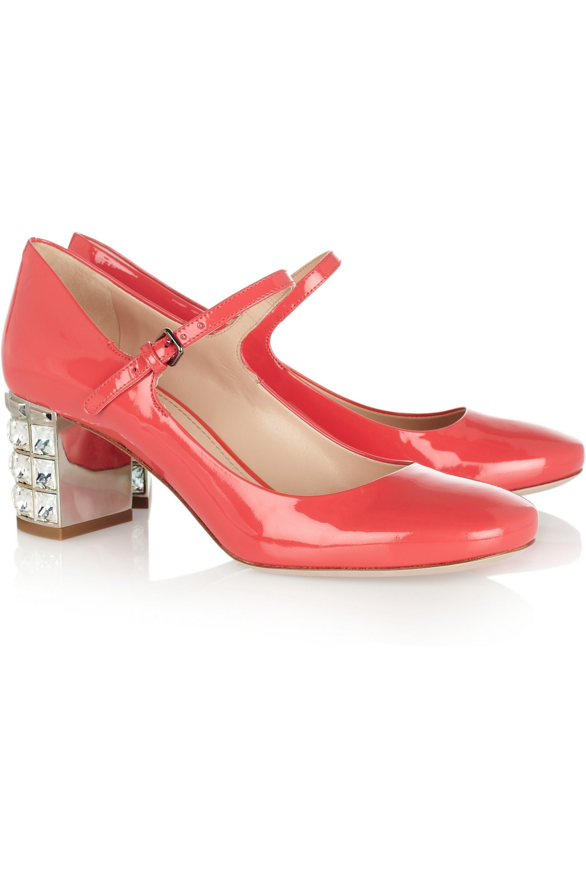 Miu Miu Crystal-embellished patent-leather pumps