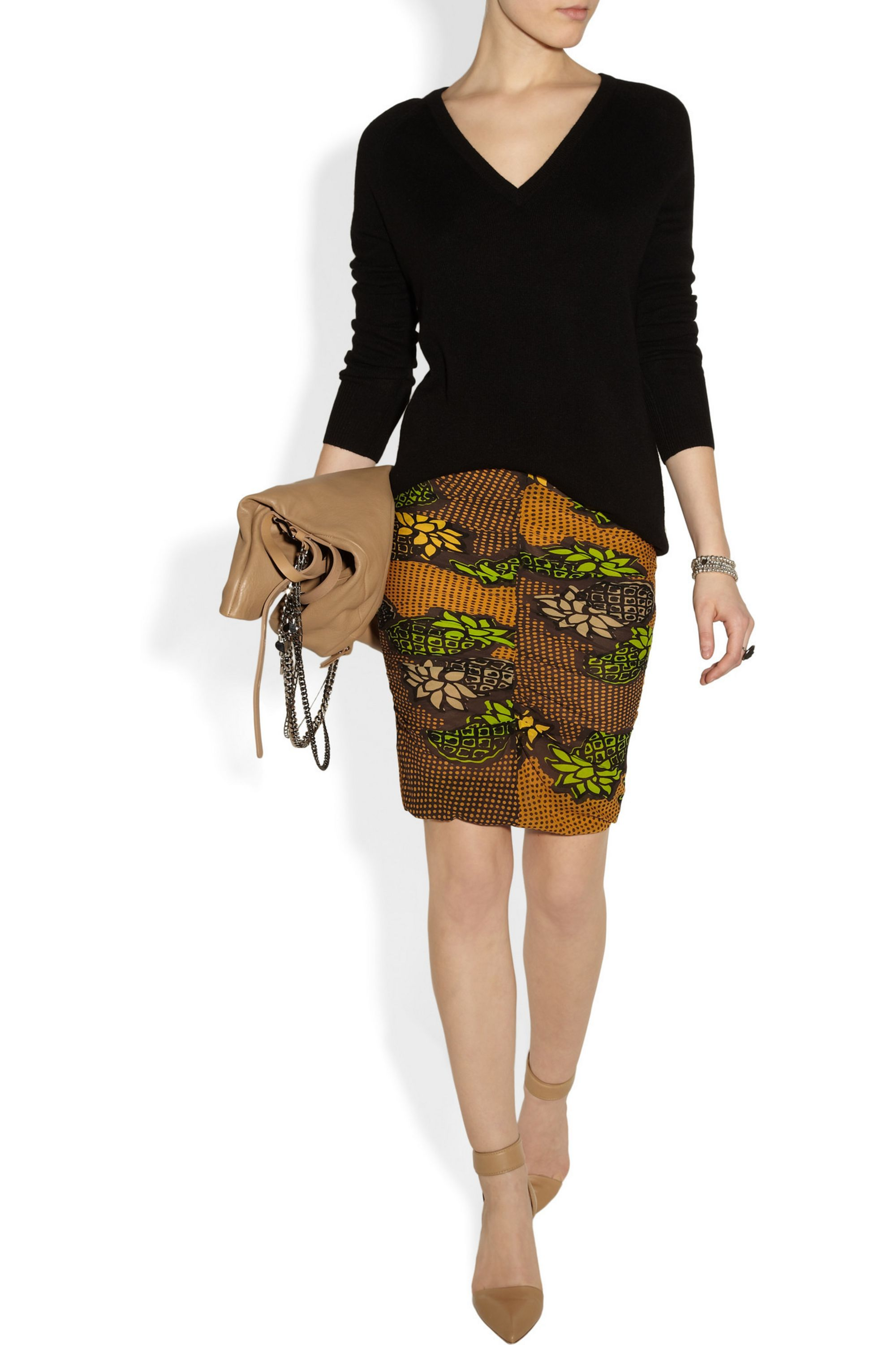 Boutique Moschino Ruched printed silk-chiffon pencil skirt