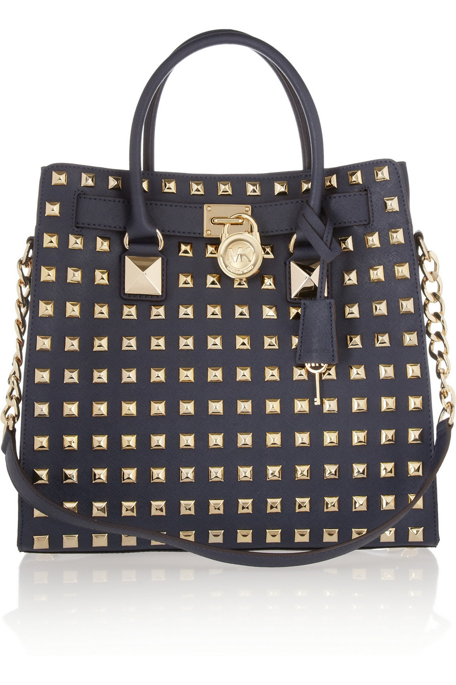 Michael By Michael Kors Hamilton Black Studded Tote Shoulder Bag 97