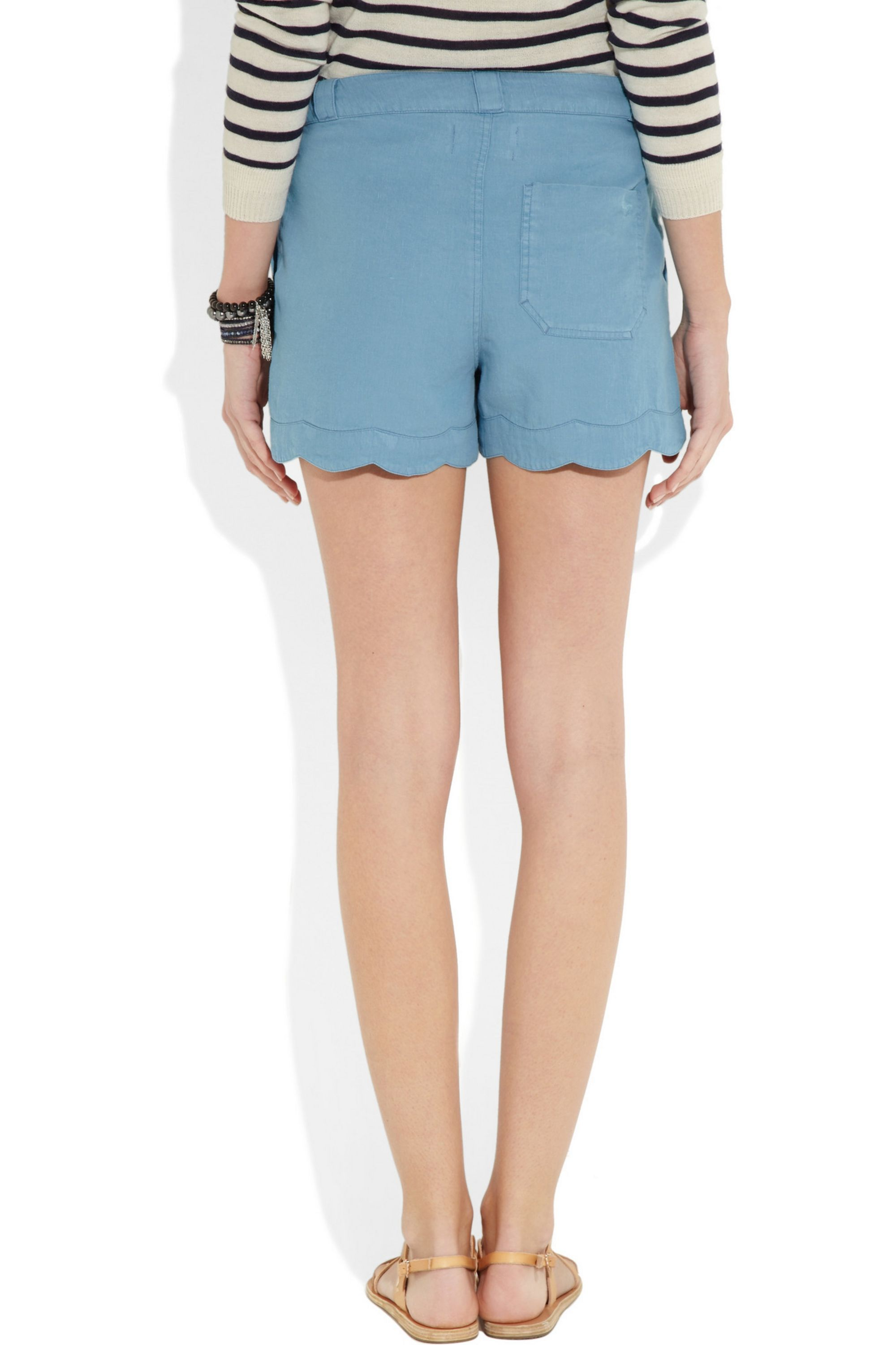 M.i.h Jeans Scalloped linen and cotton-blend shorts