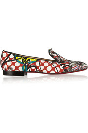 Sakouette printed cotton-sateen loafers