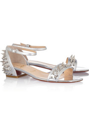 Christian Louboutin Druide studded mirrored-leather sandals