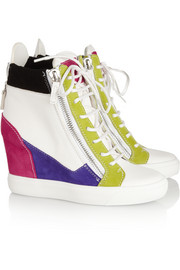 Giuseppe Zanotti Lorenz leather and suede wedge sneakers
