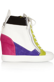 Lorenz leather and suede wedge sneakers