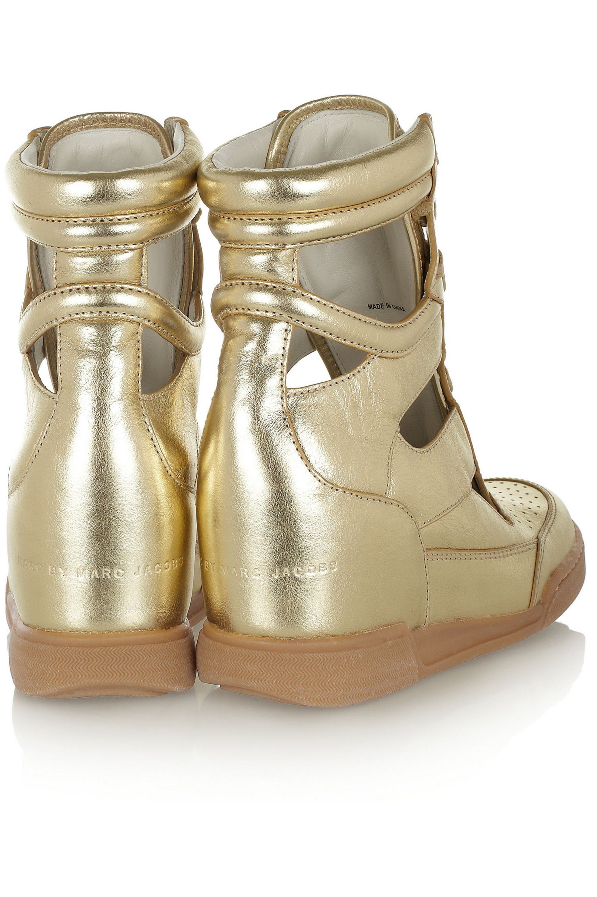 Marc by Marc Jacobs Cutout metallic leather wedge sneakers