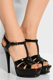 Saint Laurent Tribute patent-leather sandals
