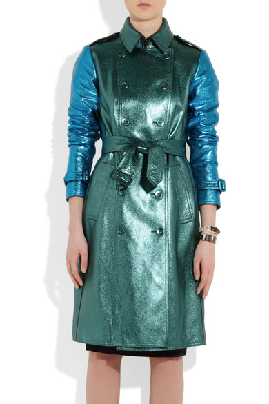 Burberry | Metallic textured-leather trench coat | NET-A-PORTER.COM