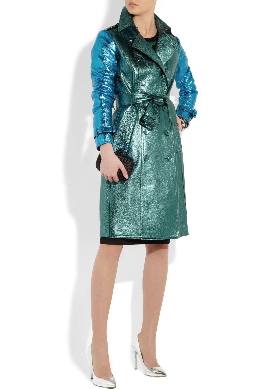 Burberry Metallic textured-leather trench coat