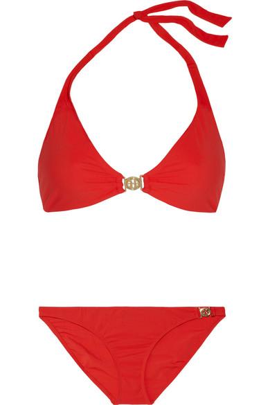Tory burch logo halterneck bikini net a porter com for Net a porter logo